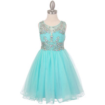Aqua Unique Design AB Stone Bodice Open Back Tulle Wired Skirt Flower Girl Dress - $90.95+