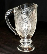 Heavy Etched Cut Glass Pitcher AA20-2265 Vintage Collectible - $105.95