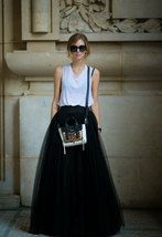 Women Black MAXI TULLE SKIRTS Black Plus Size Full Maxi Tulle Skirt image 3