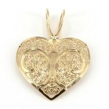 "Small Delicate 14K Yellow Gold Lacy Filigree Heart Pendant 1/2"" x 3/4"" 0... - $29.99"