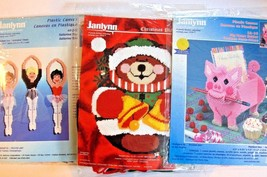 Janlynn Plastic Canvas Lot Ballerina Trio - Pig Memo Holder & Bear With Bells - $27.67
