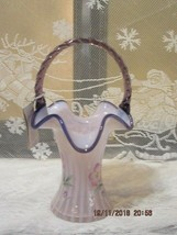 Fenton Art Glass 2001 Pink Chiffon Opalescent Rib Optic Basket~Everson - $145.00