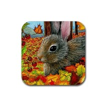 Rubber Coasters set of 4, Hare 40 Rabbit Fall Autumn art painting by L.D... - $10.99