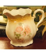 ANTIQUE GERMAN PORCELAIN CREAM PITCHER PINK CABBAGE ROSES BROWN AIRBRUSH BEADED - $39.99