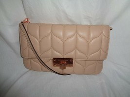 MICHAEL KORS PEYTON LARGE CLUTCH HANDBAG OYSTER  LEATHER ROSE GOLD HARDWARE - $128.68
