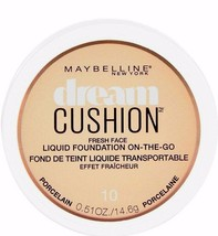 NEW Maybelline Dream Cushion Fresh Face Liquid Foundation 10 Porcelain (... - $24.74