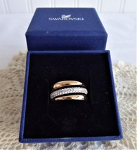 Swarovski Exact Ring Entwined CZ And Rose Gold Plating Original Box Triple Stack - $98.00