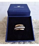 Swarovski Exact Ring Entwined CZ And Rose Gold Plating Original Box Trip... - $98.00