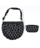 Vtg 50s Doing 20s Flapper Beaded Expandable Satchel Shoulder Bag & Coin ... - $34.64