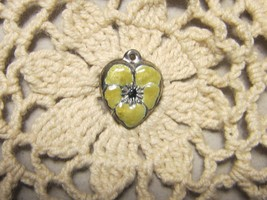 Vintage Sterling silver enameled puffy heart charm- YELLOW pansy - $30.00