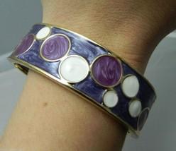 Vintage Gold Tone Metallic Purple & White Enamel Abstract Clasp Bracelet - $17.82