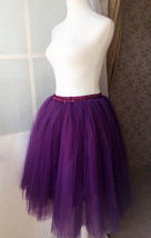 Women High Waisted Tulle Skirt Purple A Line Midi Tulle Skirt Prom Party Skirts image 4