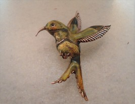 Vintage Silvertone Blue Green Enamel Hummingbird Pin Brooch  - $10.00