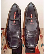 Women's PRADA Black Leather Mary Jane Flat Sz. 37.5/ 6.5 US EXCELLENT! - $40.47