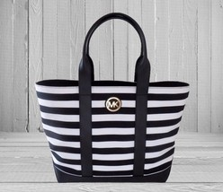 NEW! MICHAEL KORS Fulton Black White Striped Canvas Leather Medium Tote ... - $97.81
