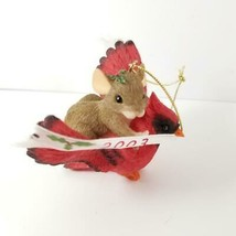 Mouse Riding a Cardinal Christmas Ornament 2003 Mousekins Forest Creatures - $15.99