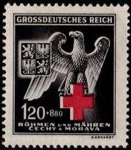 1943 German Eagle and Red Cross Bohemia Moravia Stamp Catalog Number B21 MNH