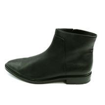 Via Spiga Womans Ankle Boots Black Leather Side Zipper Cushioned Insole ... - $47.49