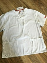 Dickies White Scrub Top Unisex Size Med Pockets 13b4 - $7.91