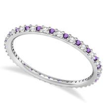 0.25 Ct Round Real Diamond & VVS1 Amethyst 14K Gold Eternity Wedding Ban... - €233,16 EUR