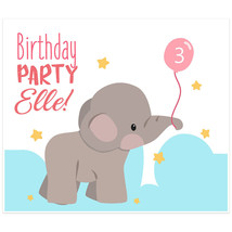 Elephant Holding Balloon Personalized Birthday Banner - $38.12
