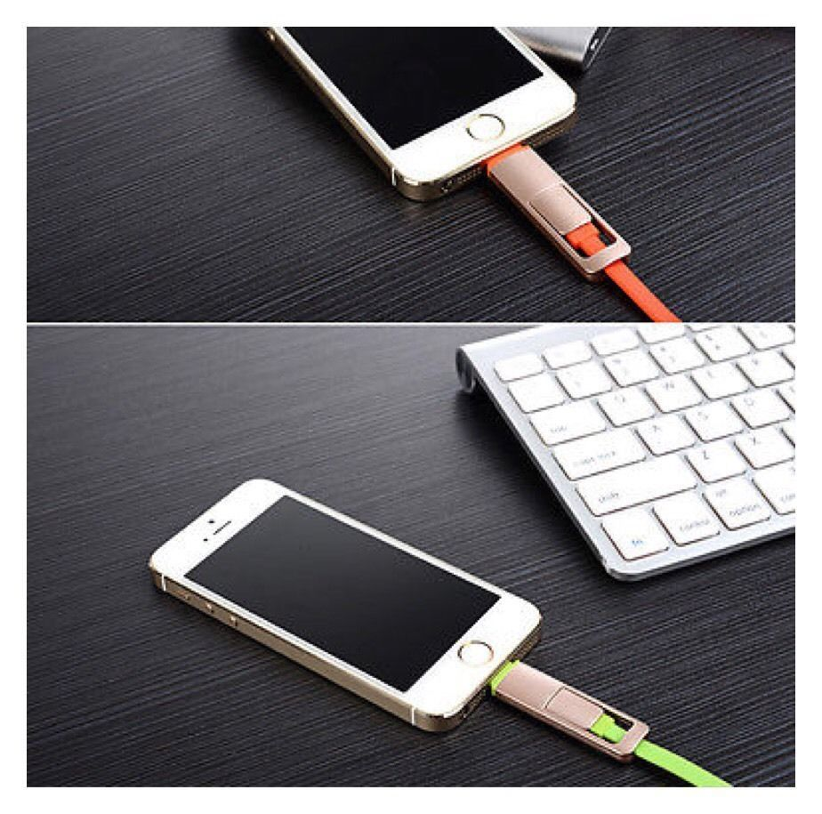 2 in 1 Micro USB Cable Lightning Sync Charger For Android & iPhone    A22