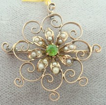 Gold Victorian Pin with Rare Demantoid Green Garnet (#1780) - $384.75