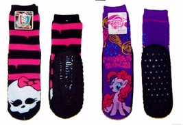 MONSTER HIGH MY LITTLE PONY Pinkie Pie Mucklucks Padded Slipper Socks Ag... - $8.99