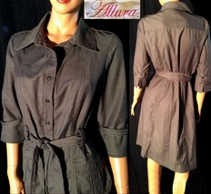 ALLURA Dark Gray Poly/Rayon Knee Length Belted ... - $32.99