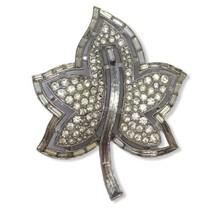 Beautiful! Vintage Crown Trifari  Rhinestone Baguettes Leaf Brooch Pin P... - $46.47