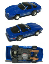 1991 HO Slot Car TYCO 440-X2 '90 Corvette ZR-1 Blue w/White Stripe & Wheels 7131 - $34.64