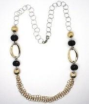 Halskette Silber 925, Onyx, Ovale Wellig, Kugel Matt , Kette Rolo image 2