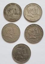 5 Philippine 1 Piso Coins Jose Rizal / Bangko Sentral Ng Pilipinas  - $9.95