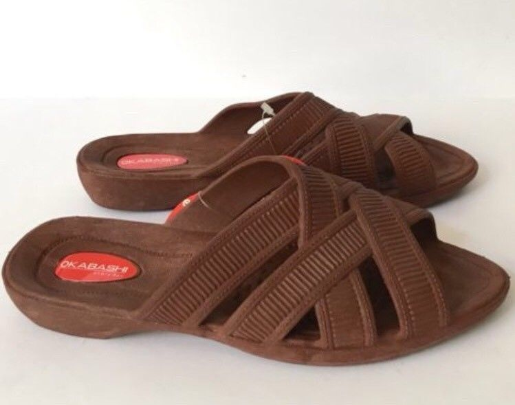 Okabashi Women's Sandals M 6.5-7.5 Naples Brown Slip On Foot Therapy Support New
