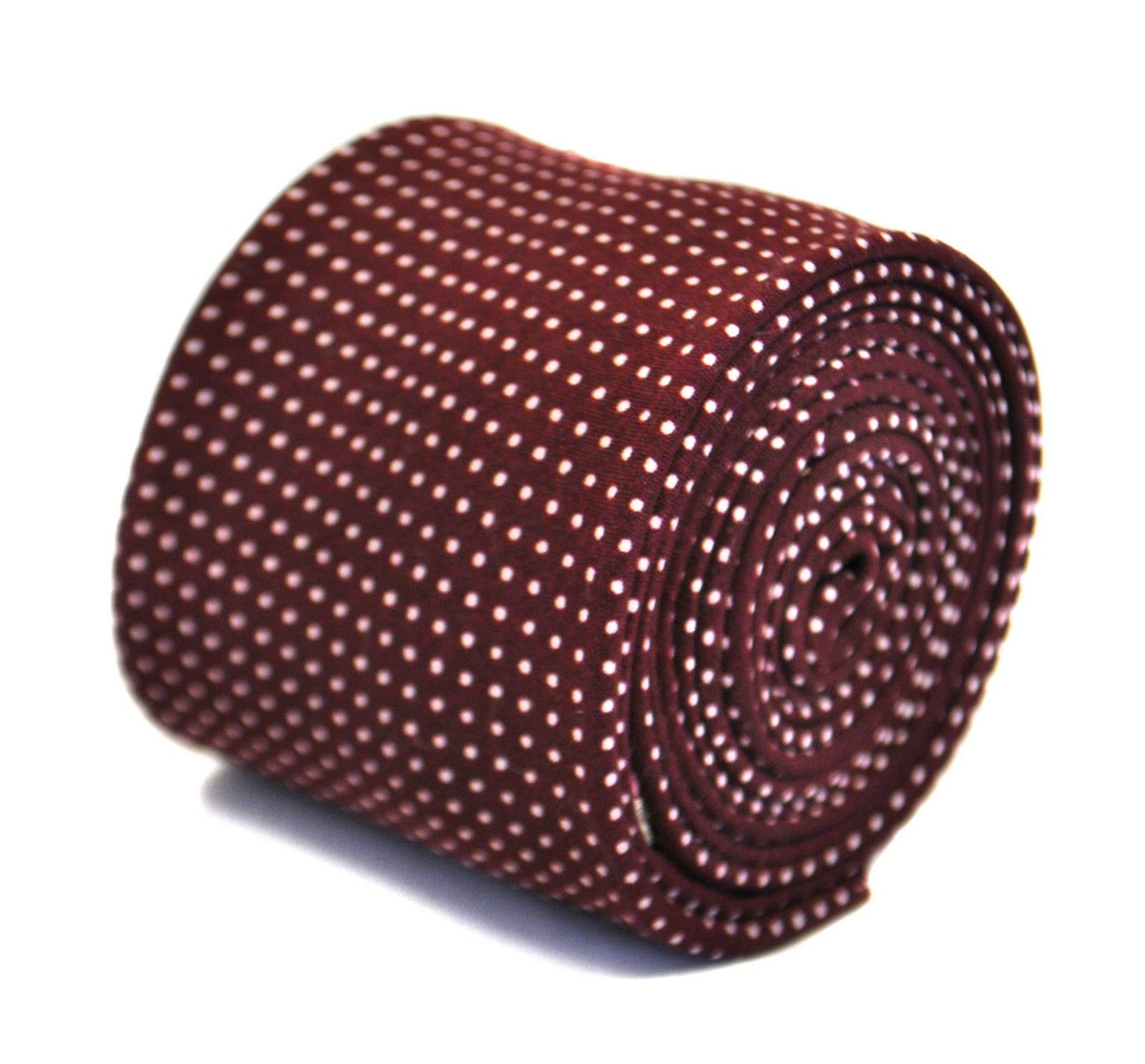 Frederick Thomas maroon spotted 100% cotton linen mens tie FT2167
