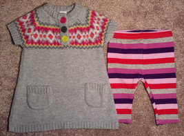 Girl's Size 0-3 M Months 2 Pc Carter's Gray Fair Isle Sweater Dress + Le... - $16.00