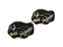 1970's Silver Tone Black Roman Warrior & Chariot Cufflinks By SWANK 51616 - $32.99