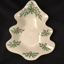 LENOX Holiday Tree Candy Dish Christmas Holly Berry Holder Tray Gold Tri... - $15.83