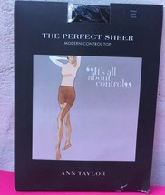 New Ann Taylor Sz M Perfect Sheer Pantyhose Modern Control Top Tights Black - $6.88