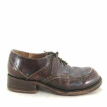 9 - Frye Dark Brown Distressed Leather Heeled Vintage Oxfords Shoes 0420AS - $30.00