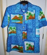 f4571222 Vtg Towncraft Jcp Hawaiian Style Shirt Volcano Islands Camp Aloha Size  Medium - $29.69