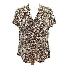 Dana Buchman Notched Collar Short Sleeve Top Small Brown Black Tan Dots ... - $21.77