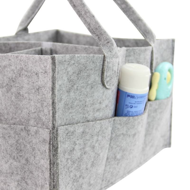 Felt Storage Basket Organizer Bag Foldable Portable Toys Diaper Cosmetic Holder