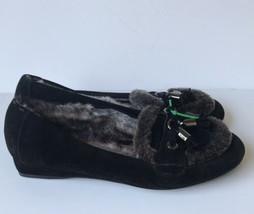 Womens Stuart Weitzman Faux Fur Lined Tassel Loafers Black 8M - $43.67