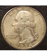 1934 Silver Washington Quarter (Medium Motto) AU #0647 - $24.99