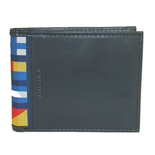 Nautica Men's Mclures Leather Slim RFID Protected Passcase Bifold Wallet (Black)