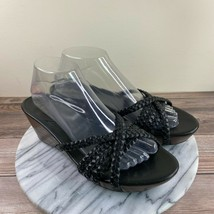 Cole Haan NikeAir Black Leather Braided Strap Wedge Sandals Womens Size 10AA - $39.95