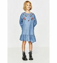 ZARA Kids Girls Chambray Denim Embroidered Ruffle Blue Dress 10 yrs 140 ... - $20.78