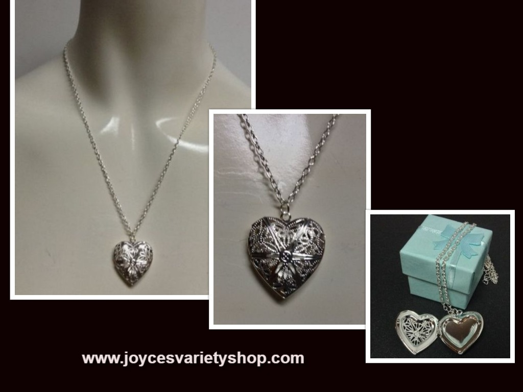 Silver locket heart  necklace collage