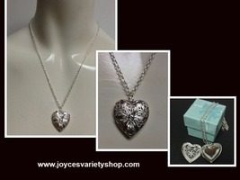 Silver locket heart  necklace collage thumb200